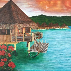 (CreativeWork) Overwater bungalow by Jessica Zhang. arcylic-painting. Shop online at Bluethumb.