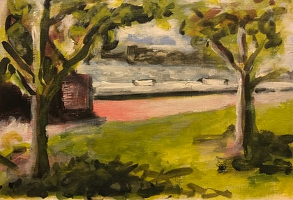 (CreativeWork) South Perth Foreshore by Matt Williams. arcylic-painting. Shop online at Bluethumb.