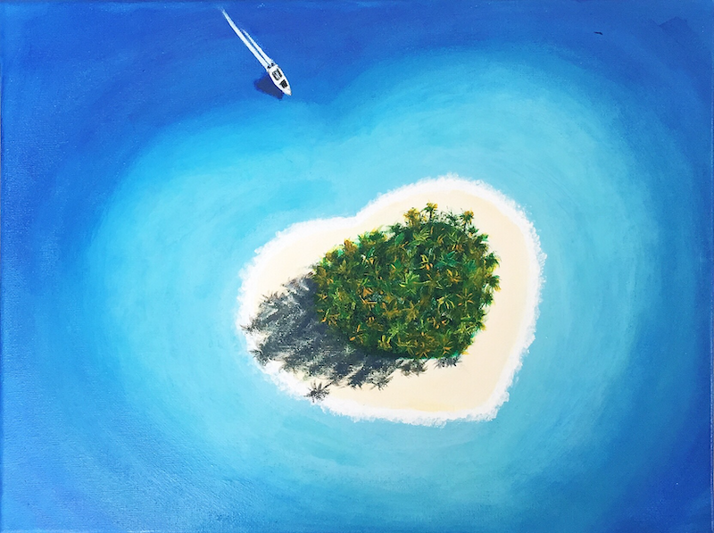 (CreativeWork) Heart Island by Jessica Zhang. arcylic-painting. Shop online at Bluethumb.