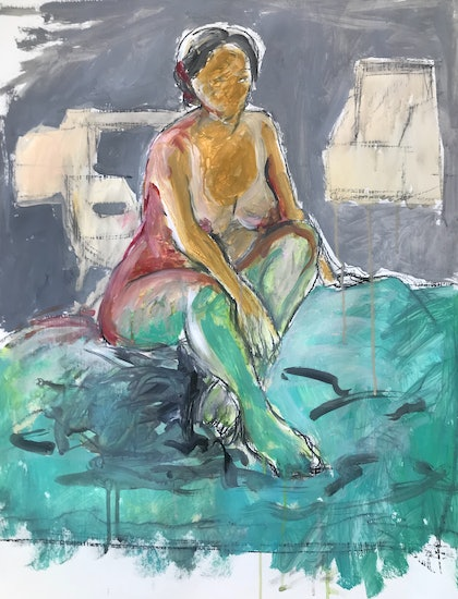 (CreativeWork) Life Drawing with Red and Green Hues by Matt Williams. arcylic-painting. Shop online at Bluethumb.