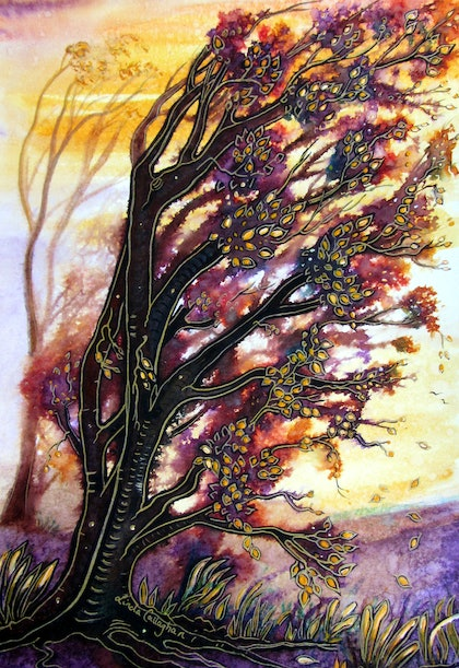 (CreativeWork) Autumn's Breeze by Linda Callaghan. mixed-media. Shop online at Bluethumb.
