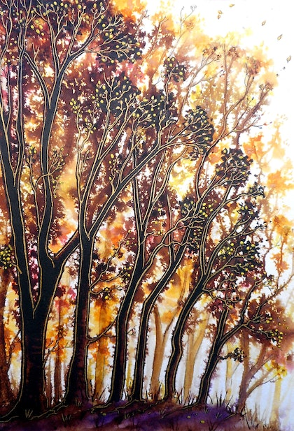 (CreativeWork) Autumn Begins  by Linda Callaghan. mixed-media. Shop online at Bluethumb.