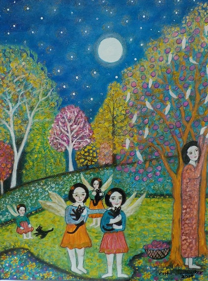 """(CreativeWork) """"Fairies in the garden"""" by catherine walker. mixed-media. Shop online at Bluethumb."""