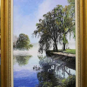 (CreativeWork) MISTY MORNING ON LAKE BURLEY GRIFFIN by Margaret HADFIELD. oil-painting. Shop online at Bluethumb.