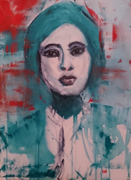 (CreativeWork) Valentina The Brave by Lou White. arcylic-painting. Shop online at Bluethumb.