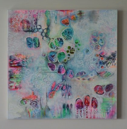 (CreativeWork) A WALK THROUGH SPRING by GILLIAN ROULSTON. arcylic-painting. Shop online at Bluethumb.