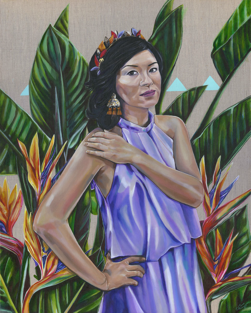(CreativeWork) Embrace - A Portrait of Michelle Law by Tamara Armstrong. arcylic-painting. Shop online at Bluethumb.