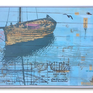 (CreativeWork) Moorings,maps & diagrams by Just Potts. mixed-media. Shop online at Bluethumb.