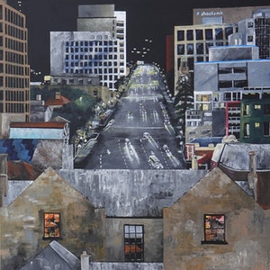 (CreativeWork) Macquarie Street from the Cenotaph, Hobart by Christopher Johnston. arcylic-painting. Shop online at Bluethumb.