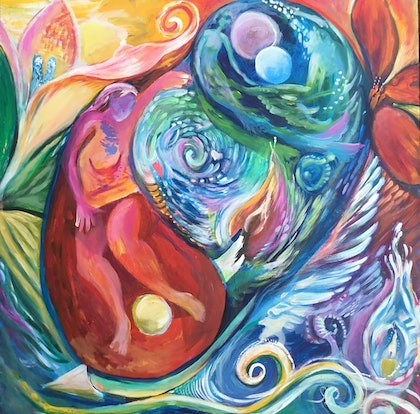(CreativeWork) Paradise Dreaming by Sharon Weir. arcylic-painting. Shop online at Bluethumb.