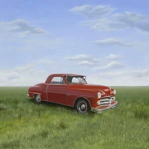 (CreativeWork) Dodge by Patricia Van Lubeck. oil-painting. Shop online at Bluethumb.