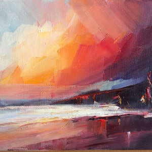 (CreativeWork) Warm Red Sky by Liliana Gigovic. oil-painting. Shop online at Bluethumb.