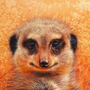 "(CreativeWork) ""Meerkat's smile"" by Elena Kolotusha. print. Shop online at Bluethumb."