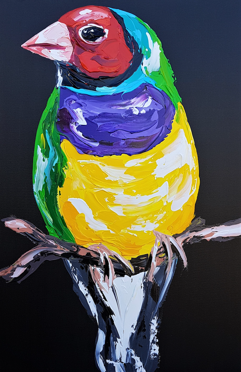 (CreativeWork) Gouldian Finch  by Lisa Fahey. arcylic-painting. Shop online at Bluethumb.