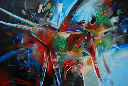 (CreativeWork) Wist by Trevor Salisbury. oil-painting. Shop online at Bluethumb.