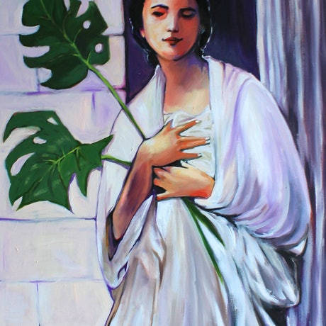 (CreativeWork) Monstera Dreamer by Rebecca Read. Oil Paint. Shop online at Bluethumb.