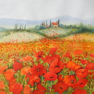 (CreativeWork) Tuscan Country Side by Jean Parker. watercolour. Shop online at Bluethumb.