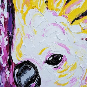 (CreativeWork) Pink Gem  by Lisa Fahey. arcylic-painting. Shop online at Bluethumb.