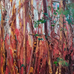 (CreativeWork) Secret Forest by meg murray. oil-painting. Shop online at Bluethumb.
