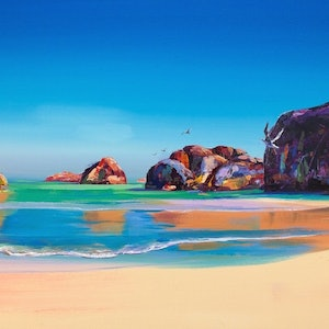 (CreativeWork) Elephant Rocks, Denmark WA by Jos Coufreur. oil-painting. Shop online at Bluethumb.