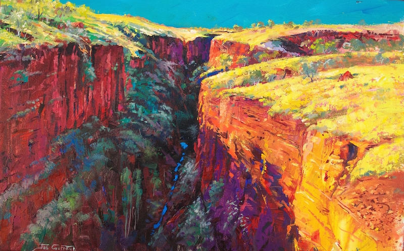 (CreativeWork) Joffre Gorge, Karijini National Park WA by Jos Coufreur. oil-painting. Shop online at Bluethumb.