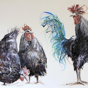 (CreativeWork) Well, hello ladies by Rebecca Hill. mixed-media. Shop online at Bluethumb.