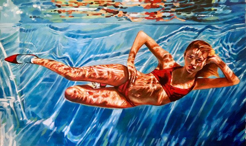 (CreativeWork) Underwater in Style by Thomas Saliot. oil-painting. Shop online at Bluethumb.