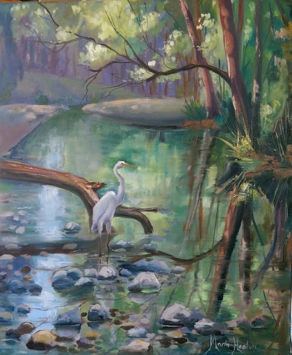 (CreativeWork) Spring Fishing  by Maria Heaton. oil-painting. Shop online at Bluethumb.