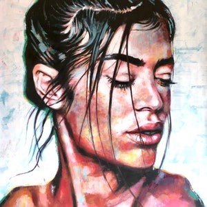 (CreativeWork) Wild Girl Fuzzy by Thomas Saliot. oil-painting. Shop online at Bluethumb.
