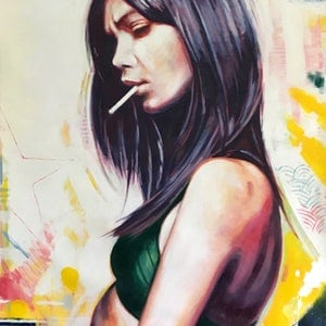 (CreativeWork) Diptyque Ifni Girls / Bad Babe Smoke by Thomas Saliot. oil-painting. Shop online at Bluethumb.