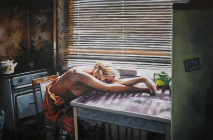 (CreativeWork) The Green Pot by Thomas Saliot. oil-painting. Shop online at Bluethumb.