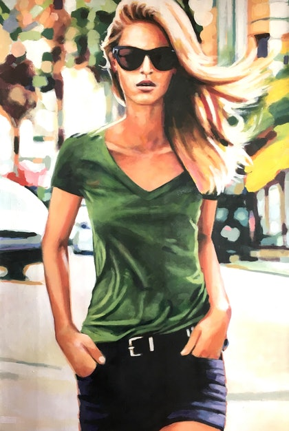 (CreativeWork) Blond City by Thomas Saliot. oil-painting. Shop online at Bluethumb.