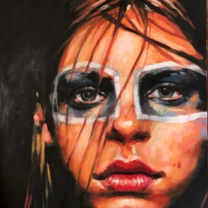 (CreativeWork) Apache Gal by Thomas Saliot. oil-painting. Shop online at Bluethumb.