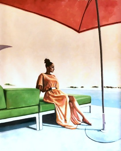 (CreativeWork) Green Sofa by Thomas Saliot. oil-painting. Shop online at Bluethumb.