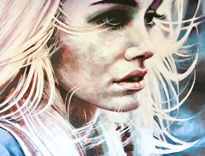 (CreativeWork) White Hair Girl LA by Thomas Saliot. oil-painting. Shop online at Bluethumb.