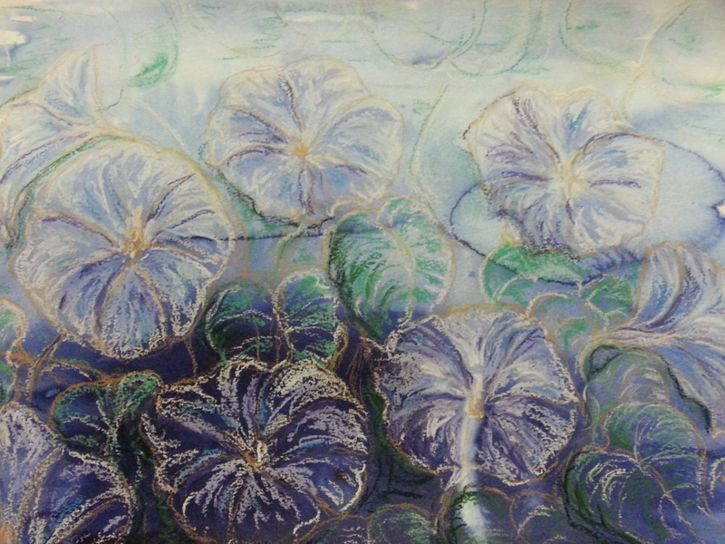 (CreativeWork) Morning Glories at Dawn by Natalie Cartwright. mixed-media. Shop online at Bluethumb.