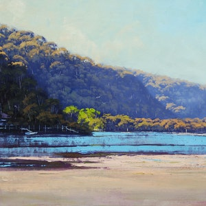 (CreativeWork) Afternoon light Patonga creek, nsw by Graham Gercken. oil-painting. Shop online at Bluethumb.