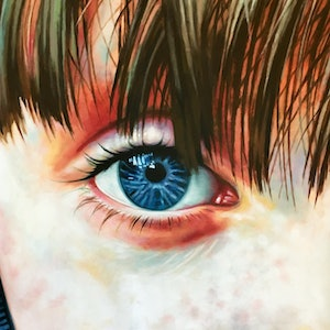 (CreativeWork) Blue Eye Kid by Thomas Saliot. oil-painting. Shop online at Bluethumb.