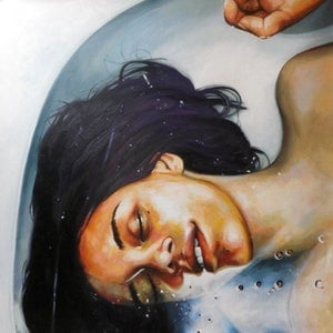 (CreativeWork) Bath Girl by Thomas Saliot. oil-painting. Shop online at Bluethumb.