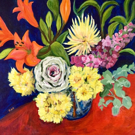 (CreativeWork) Cabbage Rose, lilies, stocks , chrysanthemums. by Colleen Michelle Connors. Acrylic Paint. Shop online at Bluethumb.