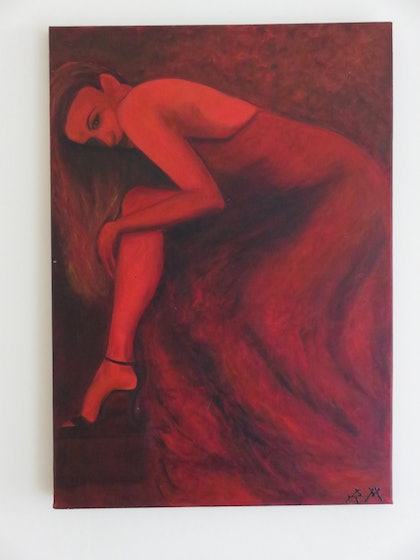 (CreativeWork) Woman in Red by Robyn Michael. arcylic-painting. Shop online at Bluethumb.
