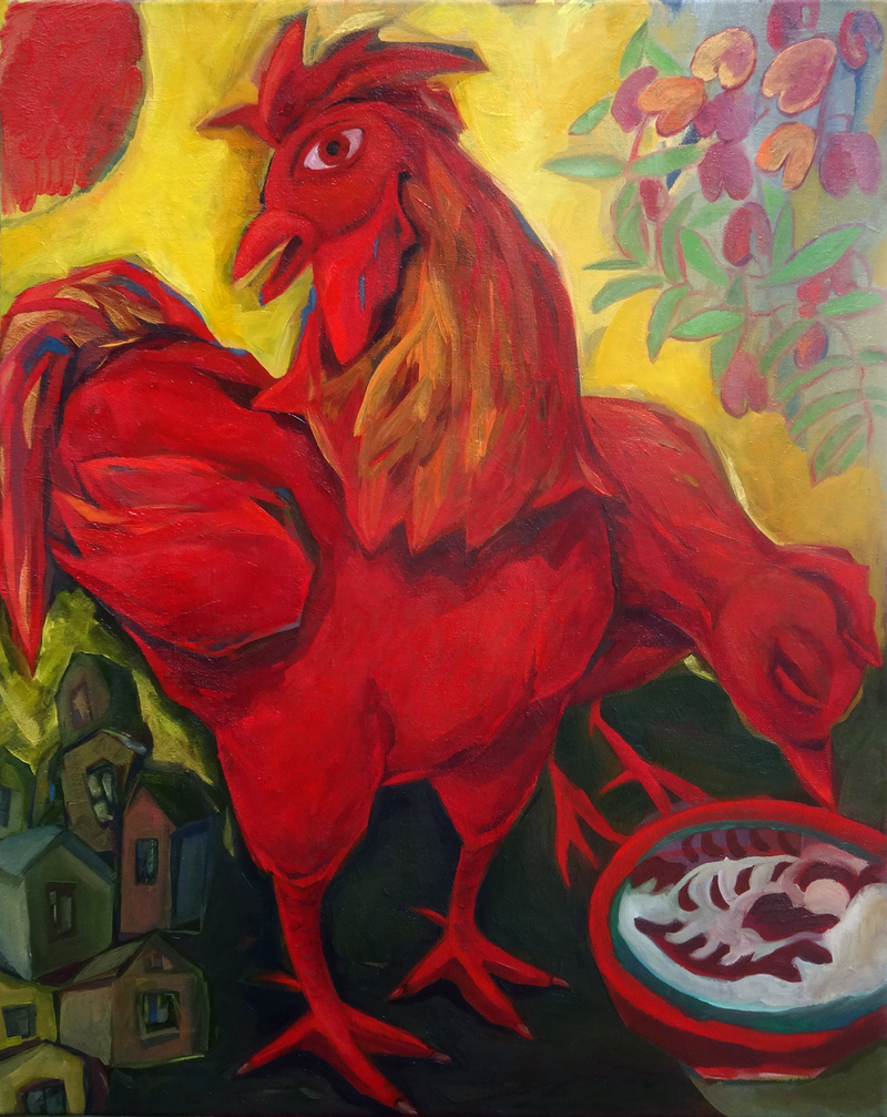 (CreativeWork) Red Rooster of March by Liza Merkalova. oil-painting. Shop online at Bluethumb.