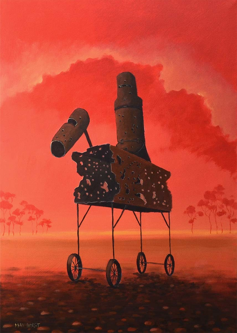 (CreativeWork) Ned Kelly - Rust and dust by Max Horst  Sokolowski. arcylic-painting. Shop online at Bluethumb.