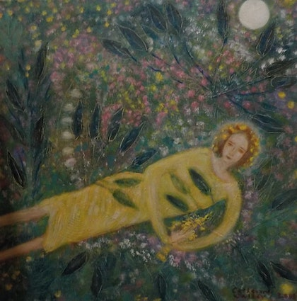 (CreativeWork)  Girl in the grass by catherine walker. arcylic-painting. Shop online at Bluethumb.