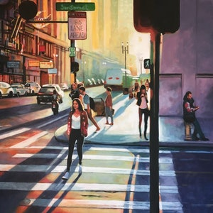 (CreativeWork) NY Street Sunset by Thomas Saliot. oil-painting. Shop online at Bluethumb.