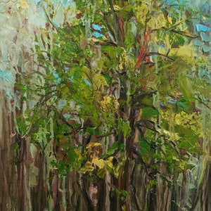 (CreativeWork) Golden Fur Tree by meg murray. oil-painting. Shop online at Bluethumb.