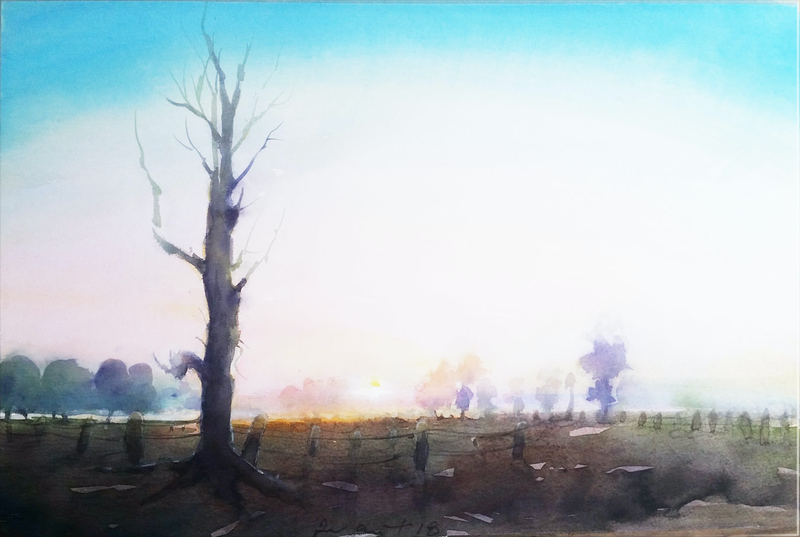 (CreativeWork) the dead tree by peter smart. watercolour. Shop online at Bluethumb.