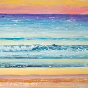 (CreativeWork) Sunset study #5: Manly beach by Michelle Angelique. oil-painting. Shop online at Bluethumb.