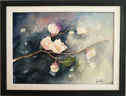 (CreativeWork) Blossoms On The Bough by Lucinda Leveille. watercolour. Shop online at Bluethumb.
