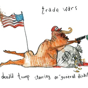 (CreativeWork) Trumptoonz - Trade Wars starring General Disaster  by John Graham. mixed-media. Shop online at Bluethumb.